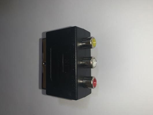 Переходник штекер SCART - гнезда 3RCA, вход в ТВ, пластик-никель, APP-184