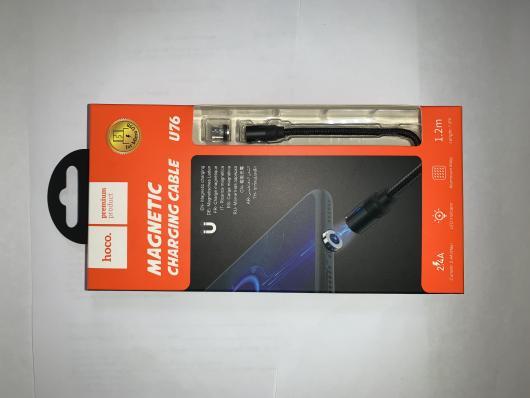 Кабель магнитный USB - micro USB, 1,2м, 2A, HOCO U76, черный, ткань BOX-22