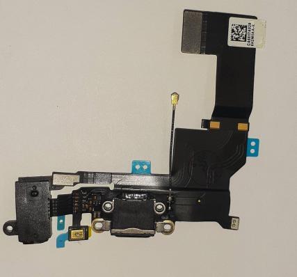Шлейф для iPhone SE (черный) с разъемом для зарядки