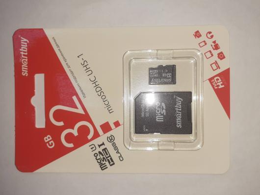 Карта памяти Smart Buy micro SDHC 32GB Сlass 10 (с адаптером SD)