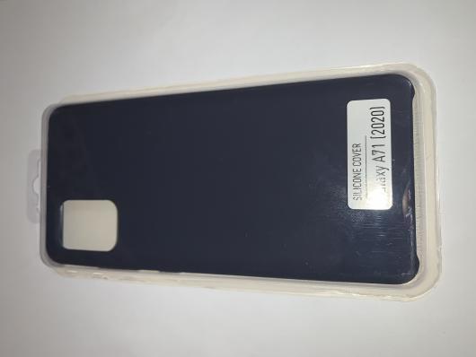 Чехол Silicone Cover для Samsung Galaxy A71, A715F (2019) темно-синий