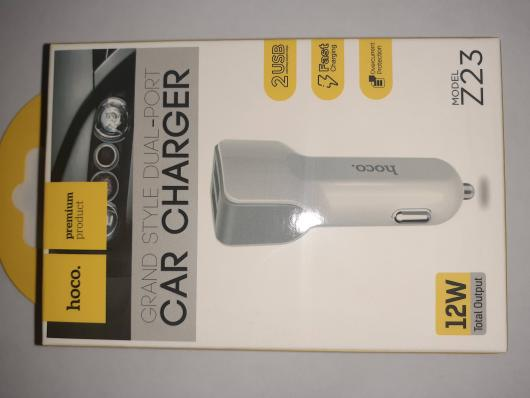АЗУ HOCO Z23 Grand Style Dual-Port Car Charger 2*USB 2,4A (белое)