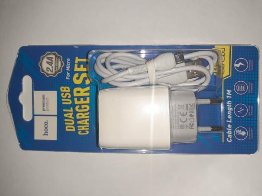 Зарядное устройство (5V, 2,4A, 2*USB, micro USB) HOCO C73A