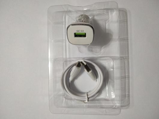 АЗУ BOROFONE BZ12A Lasting Power 1xUSB, 2.4A, QC3.0 + кабель Type-C, 1м (белый)