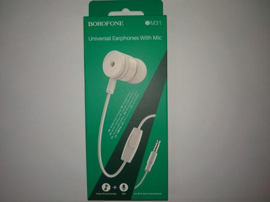 Гарнитура BOROFONE BM31 Mysterious Universal Earphones With Mic (белая)