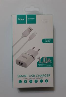 СЗУ HOCO C11 Smart Dual USB (Micro Cable) Charger Set (EU) USB 1,0A (белое)