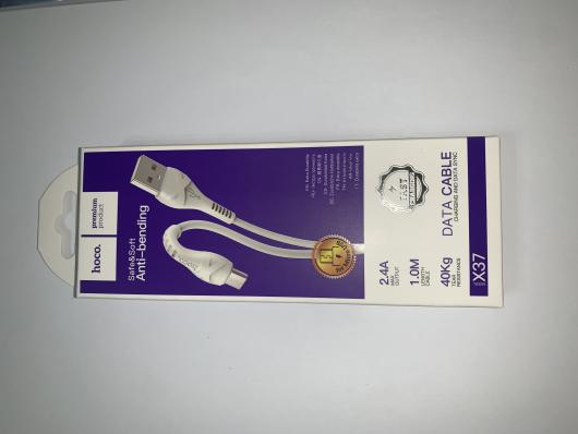 Кабель USB - micro USB, 1м, 2,4A, HOCO X37, белый, силикон