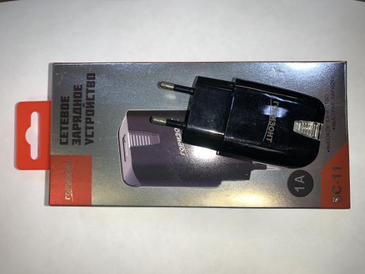 Зарядное устройство (5V, 1A, 1*USB) ГОРИЗОНТ SC-11, черный