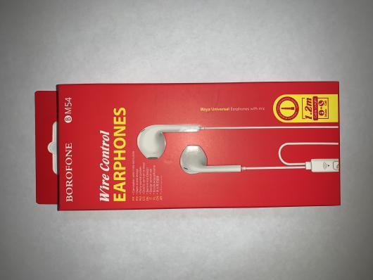 Гарнитура BOROFONE BM54 Maya Universal Earphones With Mic (белая)