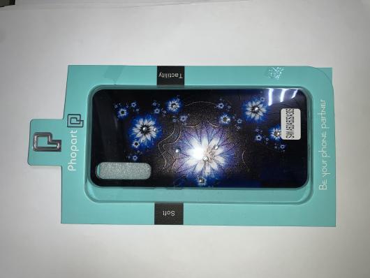 Накладка Phopart для Samsung A50/A50s/A30s со стразами, цветы №6636