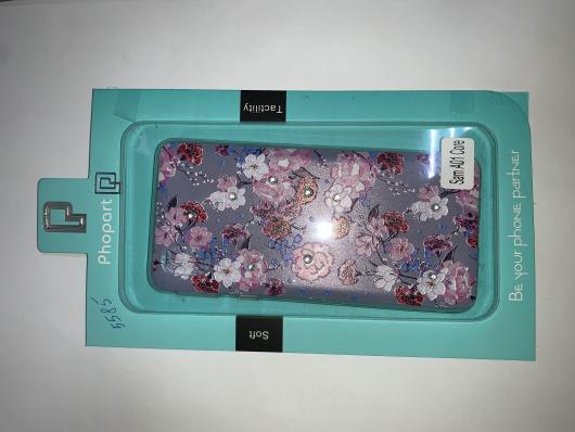 Накладка Phopart для Samsung A01 Core со стразами, цветы №5585