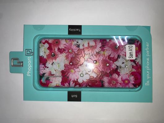 Накладка Phopart для Samsung A10 со стразами, цветы №5171