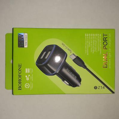 АЗУ BOROFONE BZ14 Max 2xUSB, 2.4A, LED + кабель Type-C, 1м (черный)