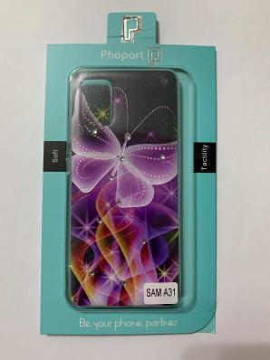 Накладка Phopart для Samsung A31 со стразами, бабочка №6410