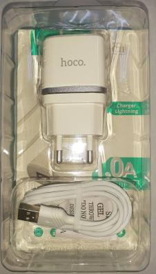 СЗУ HOCO C11 Smart Dual USB (Lighting Cable) Charger Set (EU) USB 1,0A (белое)