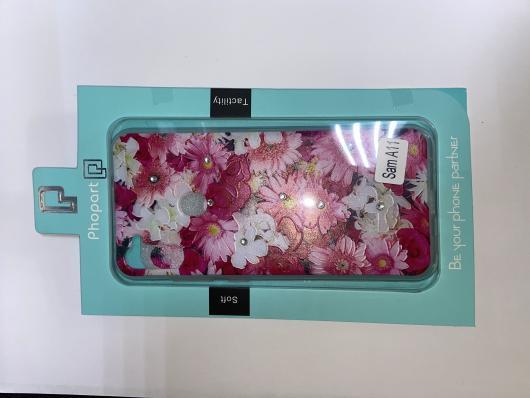 Накладка Phopart для Samsung A11/M11 со стразами, цветы №5171