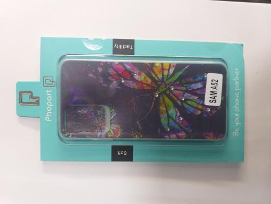 Накладка Phopart для Samsung A52 со стразами, бабочка №3191
