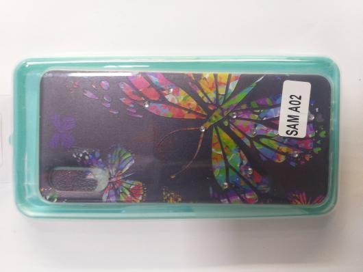 Накладка Phopart для Samsung A02 со стразами, бабочка №3191
