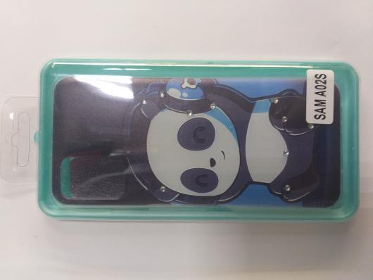 Накладка Phopart для Samsung A02s со стразами, панда №8349