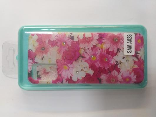 Накладка Phopart для Samsung A02s со стразами, цветы №5171