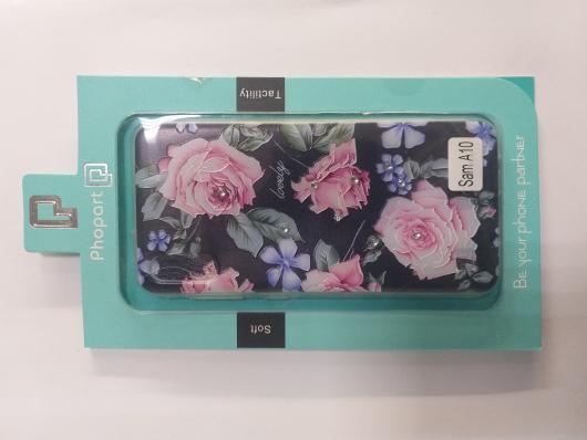 Накладка Phopart для Samsung A10 со стразами, цветы №6762