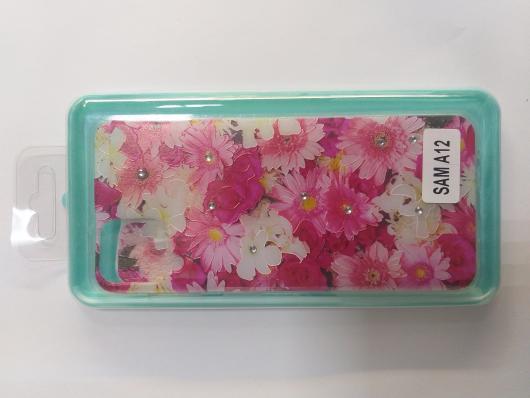 Накладка Phopart для Samsung A12 со стразами, цветы №5171