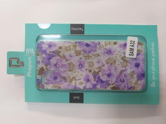Накладка Phopart для Samsung A32 со стразами, цветы №3086