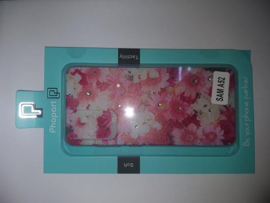 Накладка Phopart для Samsung A52 со стразами, цветы №5171