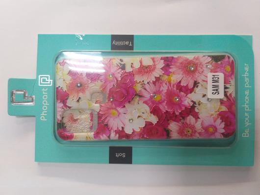 Накладка Phopart для Samsung M31 со стразами, цветы №5171