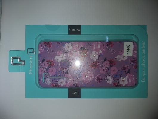 Накладка Phopart для Xiaomi Redmi Note 8 со стразами, цветы №5585