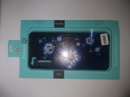 Накладка Phopart для Xiaomi Redmi Note 8 со стразами, цветы №6636