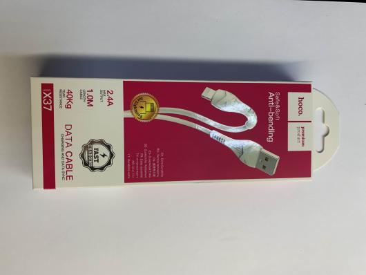 Кабель USB - lightning, 1м, 2,4A, HOCO X37, белый, силикон