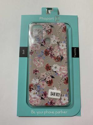 Накладка Phopart для Samsung M31 со стразами, цветы №5585