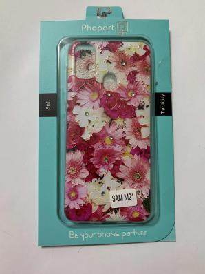 Накладка Phopart для Samsung M21 со стразами,цветы  №5171