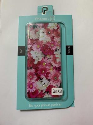 Накладка Phopart для Samsung A51 со стразами, цветы №5171