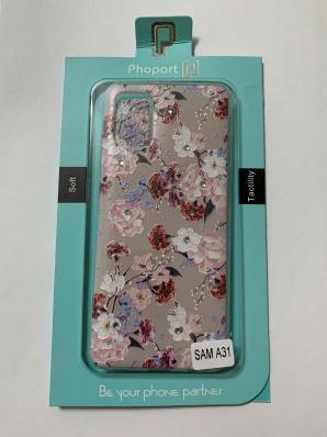 Накладка Phopart для Samsung A31 со стразами, цветы №5585