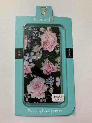 Накладка Phopart для Honor 20/Nova 5T со стразами, цветы №6762