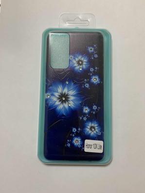 Накладка Phopart для Honor 10X Lite со стразами, цветы №6636