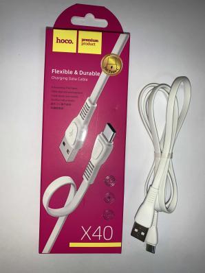 Кабель HOCO USB Tupe-C 1m (белый) 3.0А плоский