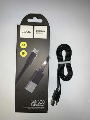 USB кабель HOCO X5 Bamboo Type-C плоский черный