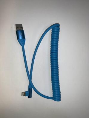 Кабель USB - lightning, 1м, 2A, KM-141, витой, угловой