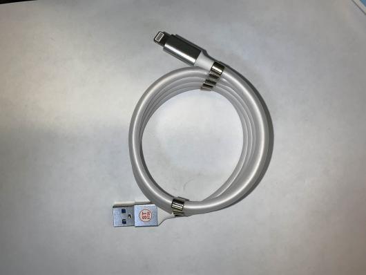 Кабель USB-lighting 10 магнитов, белый