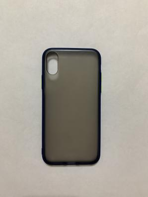 Чехол Hybrid для iPhone X/ XS темный матовый пластик с силиконовым бампером, синий