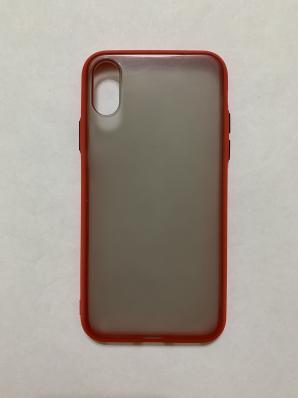 Чехол Hybrid для iPhone X/ XS темный матовый пластик с силиконовым бампером, красный