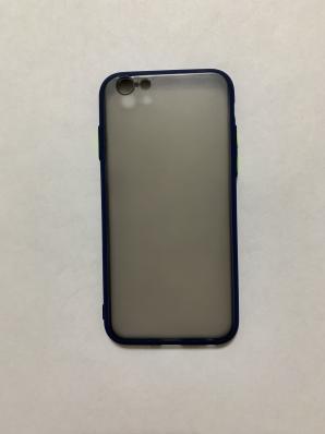 Чехол Hybrid для iPhone 6/ 6S темный матовый пластик с силиконовым бампером, синий