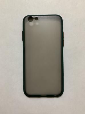 Чехол Hybrid для iPhone 6/ 6S темный матовый пластик с силиконовым бампером, зеленый