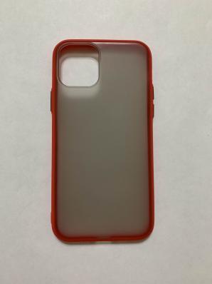 Чехол Hybrid для iPhone 11 Pro темный матовый пластик с силиконовым бампером, красный