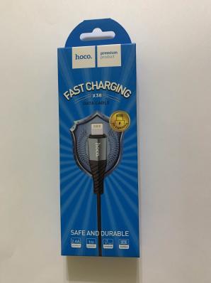 USB кабель HOCO X38 Cool Charging Data Cable For Lightning (L=1M) (черный)