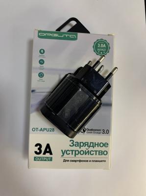 Зарядное устройство (QC3.0, 3A, 1*USB) OT-APU28, черный